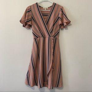 Monteau Pink Stripe Wrap Dress in Small